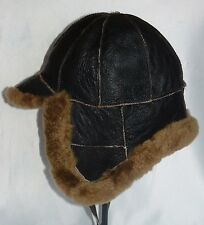NEW! mens Russian Brown Sheepskin Bomber - Aviator Hat Real Leather choose size