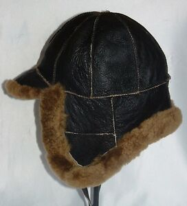 NEW! Mens Russian Brown Sheepskin Bomber - Aviator Hat Real Leather size L-XL