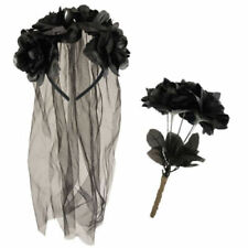 Zombie Corpse Bride Set Veil Headband & Black Dead Roses Halloween Fancy Dress