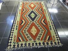 Large Persian Kilim Handmade Wool Rug Multi Carpet Mat Geometric Bordered Navajo