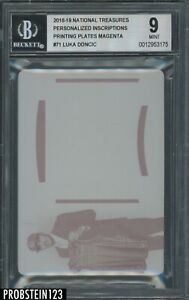 2018 National Treasures #71 Luka Doncic RC Rookie Magenta Plate 1/1 BGS 9