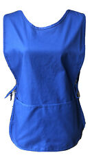 Unisex Two Pocket Cobbler Bib Apron Royal Blue Full Front and Back S&H Uniforms
