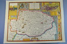 Vintage decorative sheet map of Norfolk Norwich town plan John Speede 1610
