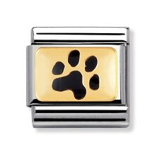 *NEW* GENUINE NOMINATION CLASSIC 18ct GOLD & ENAMEL PAW PRINT CHARM (030212-35)