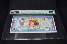PMG Graded $1 Disney Dollar Block D-A Mickey GEM UNC 66 EPQ 1993