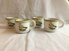 Vintage Mancer 4 Cups Yellow Bird Made In Italy