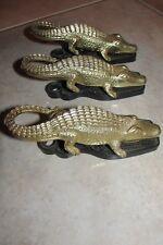 VTG Alligator Wall or Table Clips/Letter Holders~SET OF 3~CABIN,WILDLIFE DECOR