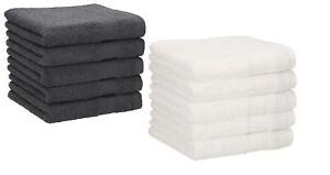 Betz 10 Seiftücher Waschlappen PALERMO 30x30cm 100% Baumwolle weiß / anthrazit