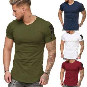 Men's Slim Fit O Neck Short Sleeve zipper Muscle Tee T-shirt Casual Blouse Tops