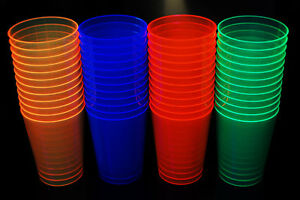 Assorted Neon Blacklight Reactive Hard Plastic 10oz Party Glow Party Cups 50ct