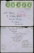 NIGERIA to IRELAND 1941 HALF CIRCLE CENSOR in RED...BIDA + SLOGAN