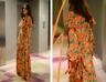 Mango 100% Silk Flower Floral Print Long Floaty Frill Maxi Dress Orange S M