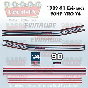 1989-91 Evinrude 90 HP V4 VRO Outboard Reproduction 12 Piece Vinyl Decals