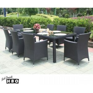 NEW Pablo Wicker Dining Set Outdoor 8 Seater