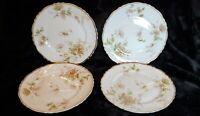 Mint Antique Set 4 Theodore Haviland Limoges France Poppy Gold Trim Bread Plates