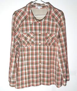 Pendleton Womens Button Shirt   Vented Autumn Long Sleeve Plaid   Womens 3XL