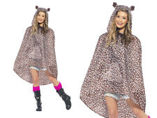 Leopard Party Poncho Shower Resistant With Bag Accessory Fancy Dress Ladies Mens One Size