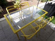 Table + 4 chaises jaune CIDUE ITALY design vintage rare