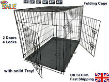 Pet Cage Dog Cat Puppy Training Folding Crate Pet Training Carrier w/Tray 2 Door