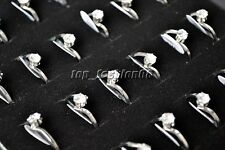 Wholesale 5pcs CZ Zirconia Women's Silver stainless steel wedding Rings FREE