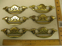 Vintage OLD KBC Keeler Brass Colonial Drawer FURNITURE Pulls Set 6 N10723 4.25""
