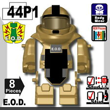 Dark Tan EOD bomb suit (W280) Vest compatible with toy brick minifigures police