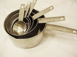 Set Of 6 Vtg Stainless Measuring Cups  2, 1, 1/2,1/3,1/4,1/8 FOLEY Metrics