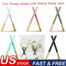 Cute Triangle Wooden Wall Hanging Display Rack Shelf Storage Home Office Decors