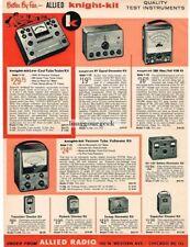 1958 Allied Knight-Kit Tube Tester Signal generator DIY Kit  Vtg Print Ad