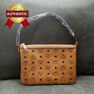 NEW Authentic MCM Pouch Clutch Cognac(Brown) from reversible shopper set