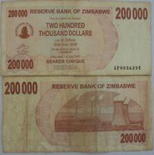 ZIMBABWE 200000 DOLLAR RARE OLD CIRCULATED BANK NOTE  # 922