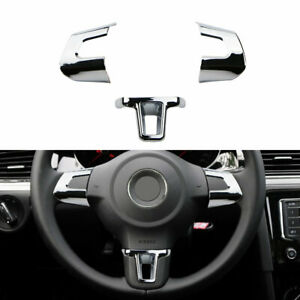 Steering Wheel Chrome Inserts Cover Trim For VW Golf Polo MK6