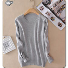Women's Autumn Winter Knitted Cashmere Long Sleeve Jumper Pullover Sweater Tops