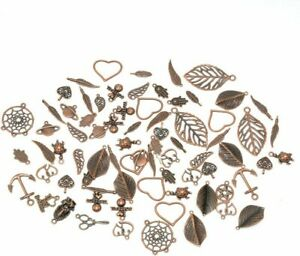 10 Assorted Charms Antique Copper Tone Mixed Pendants Jewelry Making Supplies