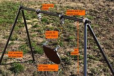 """Steel Pipe Shooting Target Stand With 1/2"""" AR500 Pipe Holders & 10"""" Gong"""