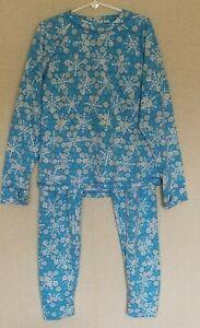 LL Bean Kids Unisex Long Underwear Set Size Large 14-16 PJs Blue Snowflakes