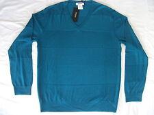 RYKIEL homme col en V Pétrole Bleu Sarcelle Bleu / Vert Pull 100% laine de nouvelles grandes NWT