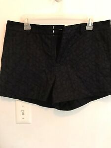 NWT ELLE Black Embroidered Floral Chino Shorts Mid-Rise Women's Size 10