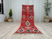 """Moroccan Vintage Handmade Boujaad Runner Rug 2'4""""x8' Berber Geometric Tribal Rug"""