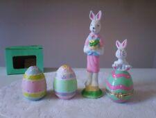 Girl Bunny & Egg/Bunny Trinket Box & Easter Eggs Salt & Pepper Shakers