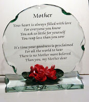 Cut Glass Plaque Cellini Gifts Mother Poem Special Gift Mom Mum Mam Ma #1