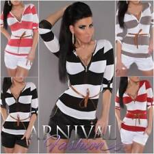 Regular Size Casual Striped Knit Tops for Women
