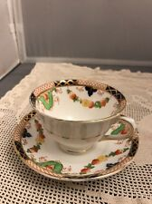 Collingwood England  Bone China Tea Cup And Saucer Cobalt Gold Floral