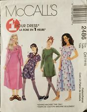 McCall's 1 Hour pattern 2486 Girls' semi-fitted jewel neck Dress sz 7,8,10 uncut
