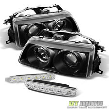 Black 90-91 Honda Crx Civic Halo Projector Headlights Lights+Smd Bumper Fog