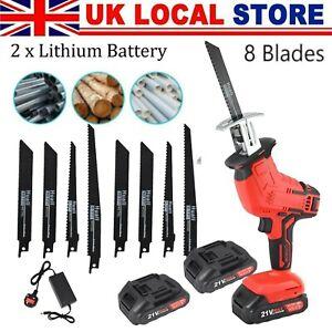 21V Cordless Powerful Reciprocating Saw Electric Wood Metal Cutting w/8 Blades