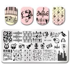 Nagel Kunst Schablone Stempelplatte Stamping Plate Musik Muster BPL-59