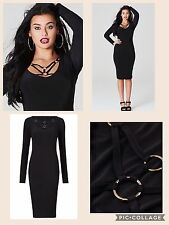 NWT Black Fitted Long Sleeved Day Weddin Evening Cocktail Party Club Dress UK 18