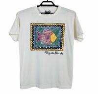 Vintage 1994 Single Stitch Myrtle Beach T-Shirt Mens Large White Breezin Up USA