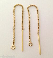 "3"" 14k Yellow Gold Filled cable chain earring Wire ear threader Ge16 - 10 pcs"